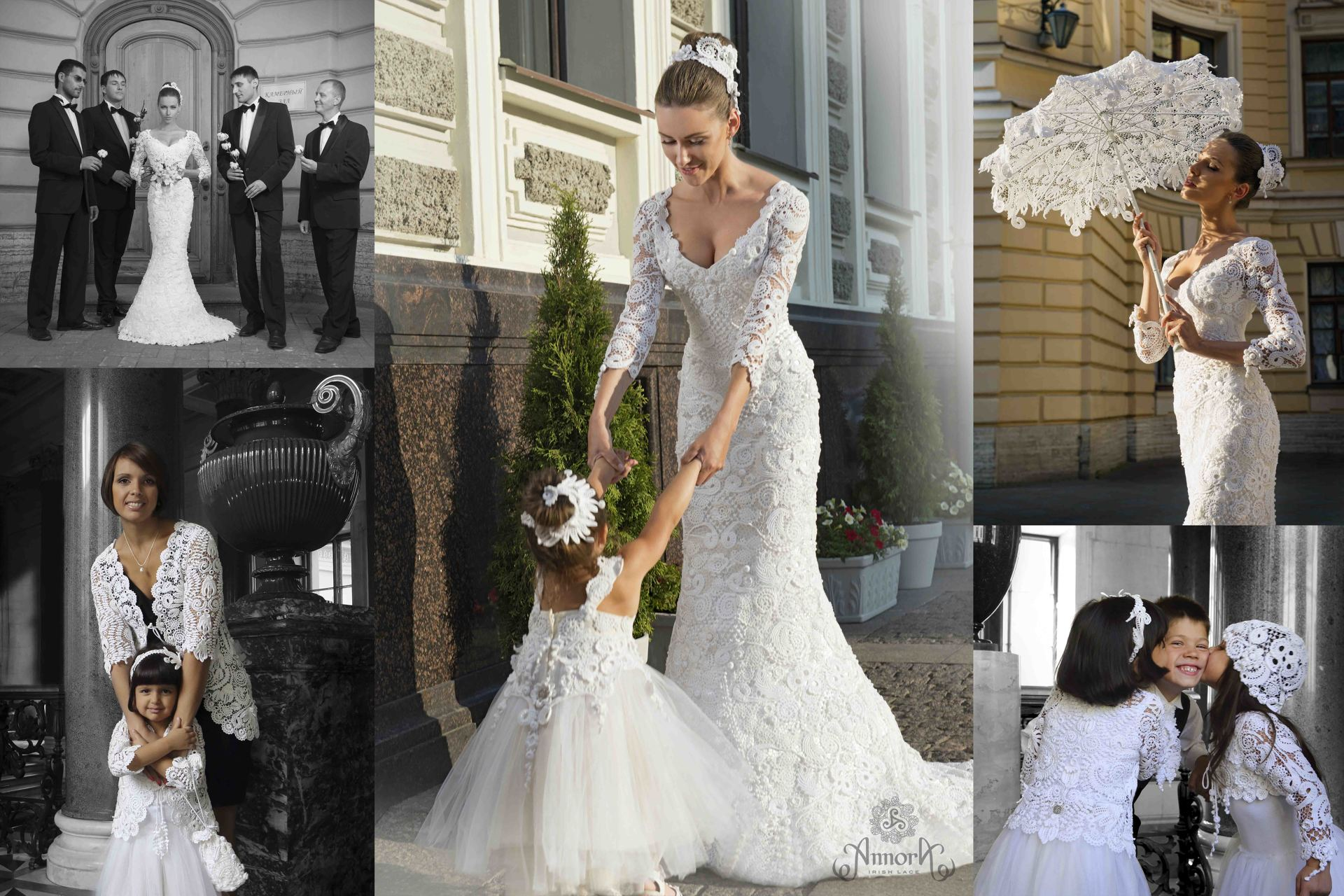 Annora Irish Lace collection: wedding dress, jacket and accessories made of handcrafted Irish Lace