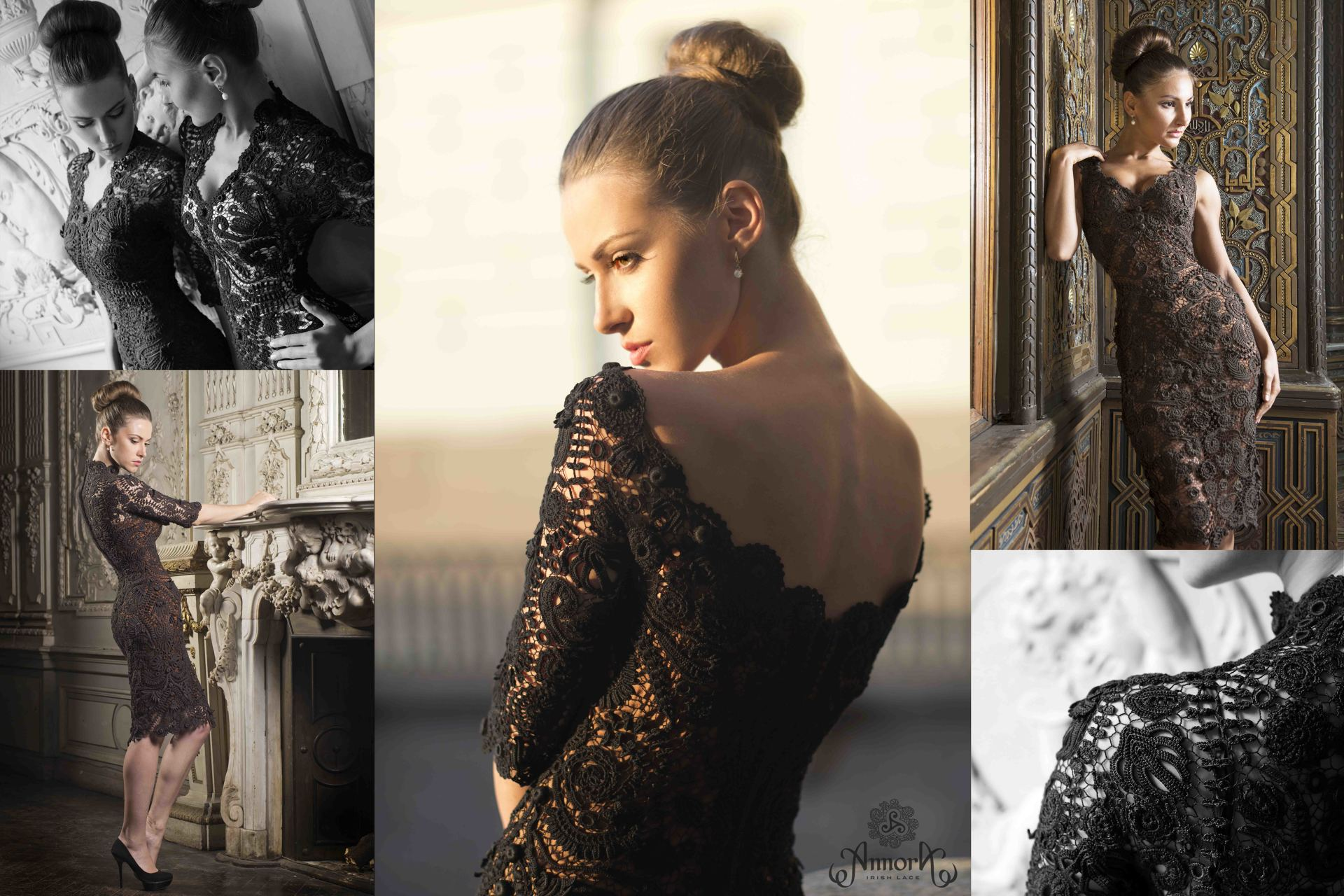 Annora Irish Lace collection: evening gown made of handcrafted Irish Lace